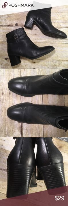 """Predictions Leather Upper Ankle about Size 9 2"""" sturdy, block heel. Non slip sole. 4"""" tall from the back of the heel to the top of the boot. Inside Zipper. Soft nylon lining with no seams. Excellent condition and comes from my non smoking home. Prediction Shoes Ankle Boots & Booties"""