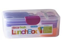 Our Decor Fresh® Lunchbox has room for a delicious hearty sandwich and plenty more.  Inside are three handy containers and a 300 ml drink/freeze flask, all in bright colours that add a bit of fun to lunchtime.  The 250 ml container is the right size for 'brain food' snacks like fresh vegie sticks and cheese sticks, and the two 110 ml containers are perfect for extras like sultanas, yoghurt and dips.  The drink flask can be frozen to keep lunches fresh, and then melts to a refreshing drink…