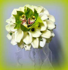 Bouquet sposa con calle e cimbidium