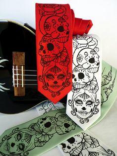 http://www.etsy.com/listing/165153796/skull-mens-necktie-day-of-the-dead-tie