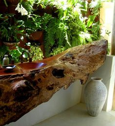 natural wood sink