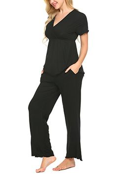 Unibelle Baumwolle Stillpyjama Damen Schlafanzuge Pyjama Set Nachthemden Hausanzug Kurzarm Shirt & Hose: - pyjama pyjamas frauen unterwäsche pyjamas womens pyjamaparty ideas pyjamaparty ideen nachthemd frauen nachthemden unterwäsche frauen pyjamas look pyjamas fashion style pyjamas top outfit pyjamas trends pyjama mode frauen schlafanzug frauen nachtwäsche damen nachtwäsche frauen schlafkleidung geschenkidee geschenk ideen -
