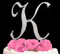 Large Rhinestone Crystal Monogram Letter  K  Wedding Cake Topper 5 inches high on Etsy, $17.99