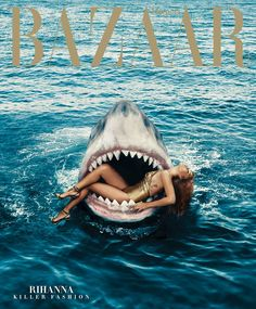 Rihanna swims with sharks in her Harper's Bazaar March issue cover shoot!