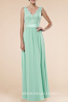 Classic mint chiffon bridesmaid dress with lace appliqued bodice.  Sleeveless deep V neck natural waist 5c3585164caf