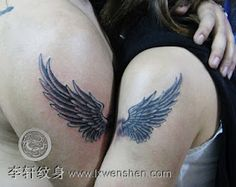 matching angel wing tattoos on the arm for lovers