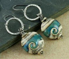 Turquoise Lampwork Earrings Lampwork Glass Earrings Teal Ivory Wave Sterling Silver Circle Organic Rustic