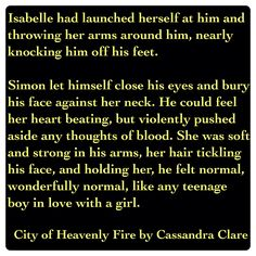 Simon Lewis and Isabelle Lightwood (City of Heavenly Fire by Cassandra Clare ~ The Mortal Instruments book 6) Quote