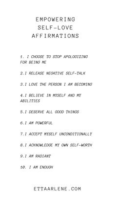 Our list of empowering self-love affirmations Today we want to talk about affirmations. But, these are not just any affirmations. Today we are discussing empowering self-love ones designed to lift your confidence and boost your self-esteem. Vie Positive, Motivation Positive, Positive Affirmations Quotes, Self Love Affirmations, Affirmation Quotes, Morning Affirmations, Positive Quotes Anxiety, Positive Quotes About Love, Healing Affirmations