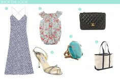 (1) Tibi Leona strappy dress, $440; tibi.com (2) Baby CZ baby bubble in Liberty Tatum Mint, $101; babycz.com (3) Chanel quilted CC-clasp bag, $4,618; matchesfashion.com (4) L.L.Bean Boat and Tote bag with zip-top, $28; llbean.com (5) Stephen Dweck oval turquoise cocktail ring, $345; neimanmarcus.com (6) Jimmy Choo India glitter lamé slingback sandal, $575; saksfifthavenue.com