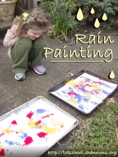 """Rain Painting (Shannon's Tot School) Place paper on larger """"messy paper"""" or foam trays . Have students """"pinch and sprinkle"""" with fingers and spray with water bottle. Preschool Weather, Rainy Day Activities, Craft Activities For Kids, Preschool Activities, Projects For Kids, Crafts For Kids, Nature Activities, Public School, Tot School"""