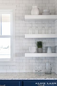 Minimalist open shelving concept! Designed by Alice Lane