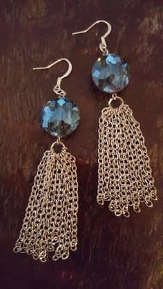Silver Chain and Blue Glass Dangle Earrings by FindingLifeDesigns