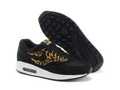 buy popular 47165 6fb56 Meilleur prix Nike Air Max 1 Chaussures Homme Leopard Qs Noir Or Blanche  Pas Cher France