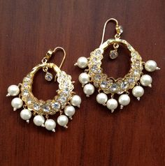 Indian Earrings | Bollywood Jewelry | Indian Wedding Jewelry | Hyderabadi Jewelry | Hyderabadi Chand balis Earrings | Hyderabadi Chandbalis