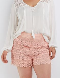 Plus Size Pink Tiered Crochet Shorts by Charlotte Russe