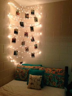defi ntely could put the fairy lights behind the pics we have that i kick off the wall