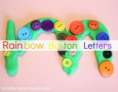 Rainbow button letters- a fun and colorful way to learn about and create the alphabet letters. What else do you like to do with playdoh?