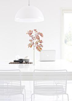 lisbet e.   Hay Hee dining chair, Valanti Ruutu dining table, Frandsen Half Moon pendant light, Amfora ceramics