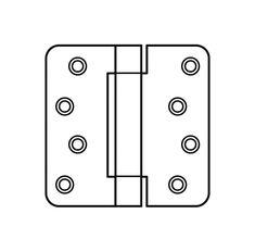 "Hager 1751-3.5 3.5"" x 3.5"" Mortise Spring Hinge with 1/4"" Radius Corners - Pair"