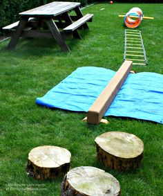 An Outdoor Obstacle Course + More Affordable Kids Party Activities at B-InspiredMama.com