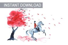 Watercolor painting horse rider and autumn with red tree and leaf fall. England equestrian sport. JPG download. Printable digital file