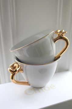 Rose embossed teacups