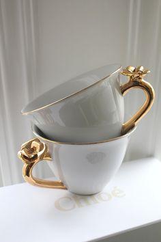 Rose embossed teacups