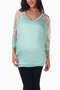 3a86e897fa5 Light Blue Crochet Sleeve Maternity Top Stylish Maternity