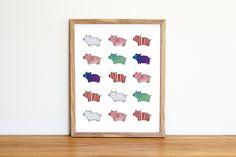 Illustrazione da scaricare subito con una serie di maialini colorati. Per camerette e nursery di IlluminoHomeIdeas su Etsy