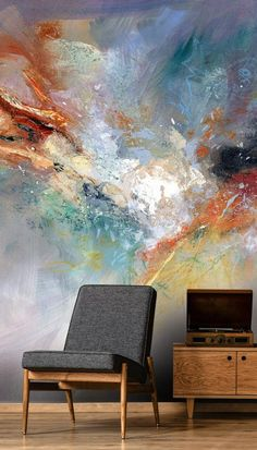 Celestial Wall Mural by Anne Farrall Doyle Mural Art, Wall Murals, Wall Art, Room Wallpaper, Custom Wallpaper, Wallpaper Murals, Wall Treatments, Floral Wall, Cool Walls