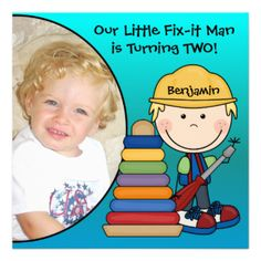 A little blond haired construction worker in a yellow hard hat with a screwdriver and several other construction workers with areas you can easily customize with your child's photo and birthday party specifics on Little Fix-It Man birthday invitations! Great for construction or little carpenter theme birthday parties! #birthday #kids #construction #fix #it #man #carpenter #customized #custom #childrens #peacockcards #cute #fun #colorful #add #photo #photo #personalized