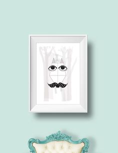 Fox with moustache in the woods Geometric Wall, Print Poster, Moustache, Wood Art, Woods, Fox, Objects, Pastel, Wall Decor