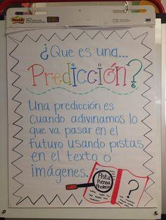 Prediction anchor chat in Spanish. Great for bilingual teachers! Bilingual Kindergarten, Kindergarten Anchor Charts, Bilingual Classroom, Bilingual Education, Kindergarten Writing, Literacy, Education Logo, Kindergarten Classroom, Classroom Decor