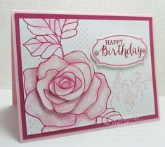 "Pink vintage ""Rose Wonder"" birthday card - Song of My Heart Stampers"