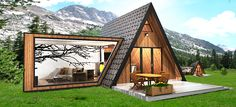 Te koop: MOD op MAAT - modulaire woning - Real Estate Slovenia - www. Cabin Design, Tiny House Design, Modern House Design, A Frame House Plans, A Frame Cabin, Tiny House Cabin, Cabin Homes, Arched Cabin, Triangle House