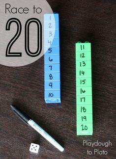 Fun, low prep way to help kids practice teen numbers. {Playdough to Plato}