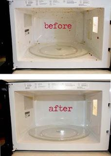 Cleaning the microwave is not an easy task of daily chores. This tips clean your microwave like anyone    1 cup vinegar   1 cup hot water   10 minutes in microwave = steam clean!     Totally works. No more scum, no funky smells. Easy Peasy!