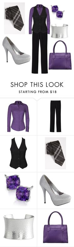 """""""Purple, Black, and Silver Work Outfit"""" by kajora ❤ liked on Polyvore featuring Uniqlo, Neon Hart, Burberry, Blue Nile, Nordstrom, O.S.P Osprey, black vest, purple top, silver cuff and plaid tie"""