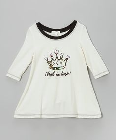 Take a look at this Off-White Sequin Crown Tee - Infant, Toddler & Girls on zulily today!