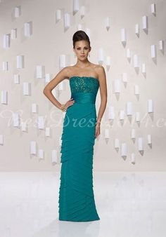 Empire Sleeveless Column Embroidery Strapless Chiffon Mother Of The Bride Dress