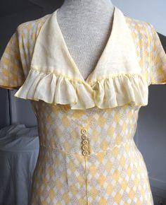 1930s Summer Dress S - Delicate cotton print - Frill collar | eBay