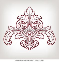 Illustration of vintage baroque engraving floral scroll filigree design frame border acanthus pattern element at retro grunge background vector art, clipart and stock vectors. Filigranes Design, Design Elements, Pattern Design, Motif Baroque, Baroque Pattern, Vintage Embroidery, Embroidery Patterns, Sculpture Ornementale, Motif Arabesque