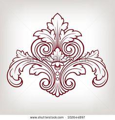 stock vector : vector vintage Baroque damask  design frame pattern element engraving retro style