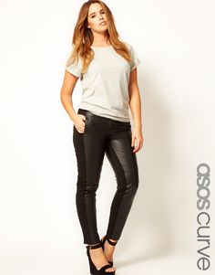 ASOS CURVE - Leather Panelled Trousers