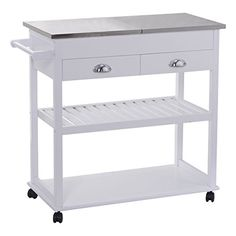Description Home Styles Kitchen Cart With Stainless Steel-Flip Top Features A Solid Wood Construction In White Finish,Which Is A Perfect Addition To Your Apart...