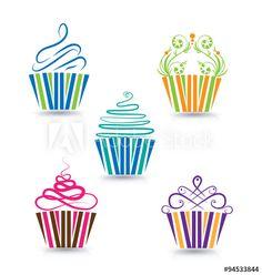 Cupcakes set vector logo