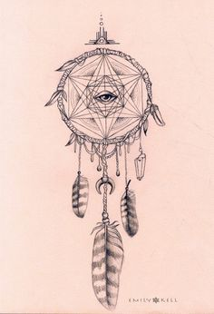 Owl magic shipibo dream catcher visionary art print
