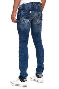 Herren Rusty Neal Jeans in ausgefallenem Look 12097-1 blau   04251205866076  - Herren Bekleidung 32b6699109