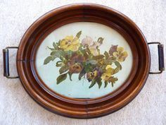 Antique Pansy Painting in Walnut Tea Tray